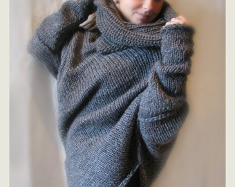 Grey merino wool poncho with tube scarf