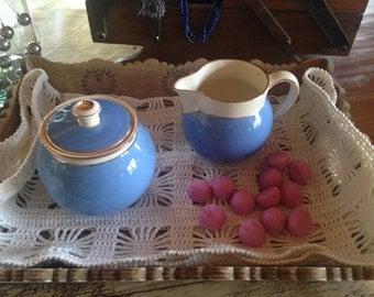 Vintage Villery & Boch Blue Orleans Milk Jug and Sugar Pot