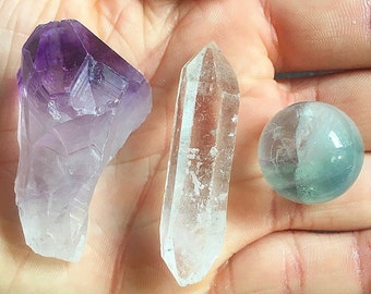 Beautiful Crystal Set: Amethyst, Quartz & Fluorite