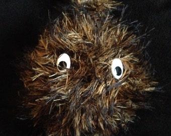 Large fluffy keychain, keyring, black, brown fur with eyes