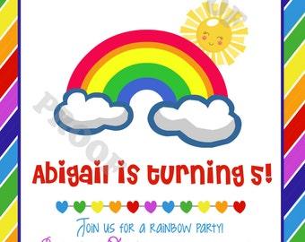 Rainbow Party Invitation (Printable Digital File)