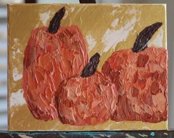 Three Pumpkins - Original Abstract Acrylic Painting - 8 x 10