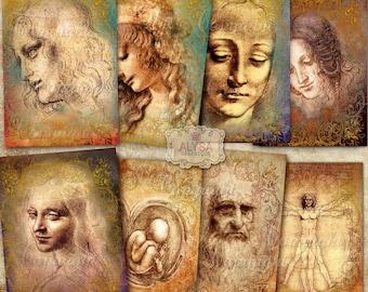 Leonardo da Vinci No1- Greeting Cards + Gift Tags, Digital Collage Sheet, Scrapbook,Journaling, Instant Download, Vintage Paper Craft