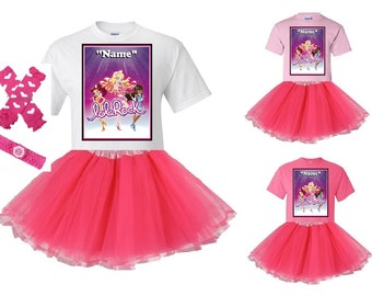 loliRock White or Pink T-Shirt and Pink Tutu Set with FREE Personalization