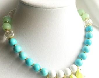 Turquoise seafoam green clear crystal Lemon yellow bezel czech beaded necklace