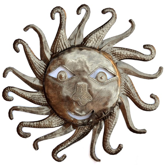 """Metal Sun - Handcrafted Wall Art From Haiti, Recycled Oil Drums 11""""x11"""""""