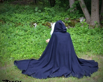 Basic Medieval Woolen Cloak. With wide hood edged with Fur. Made from soft natural wool in different colors. For LARP, reenactment and other