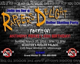 Rapper's Delight Birthday Invitation, Dance Invite, Hip Hop Invite, Rap Invite - Printable, Digital Invitation