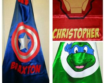 SALE! PERSONALIZED Superhero Cape  - 14 Styles! Captain America, Spidergirl, Ironman,  Spiderman, Ninja Turtles,  Thor, Hulk, Avengers, MORE