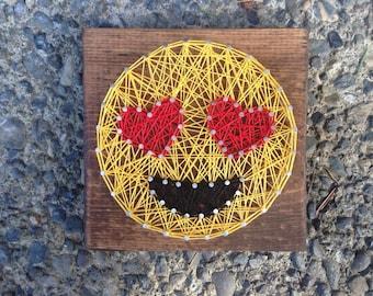 MADE TO ORDER - Mini Emoji String Art- Heart Eyes