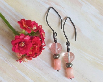 Pink flower earrings, Pink coral earrings,  Pink stone earrings, Sterling silver earrings, Elegant dangle earrings, Handmade gift for her