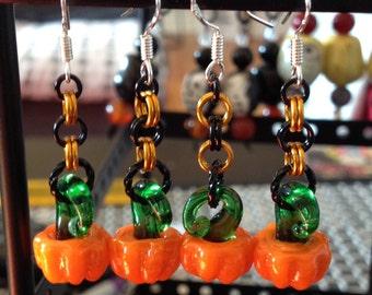 Sweet Glass-Blown Pumpkin Earrings!