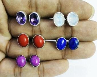 Gorgeous 5 PAIRS Gemstone Earrings, Birthstone Earrings, 925 Sterling Silver Earrings, Fashion Handmade Earrings, Weekdays Stud Earrings
