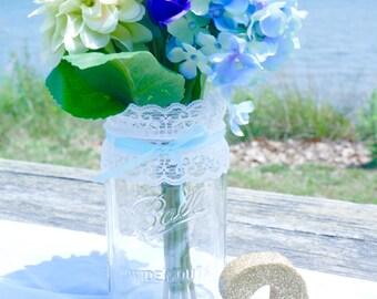 1 - 32oz (Qt) POWDER BLUE Lace Mason Jar