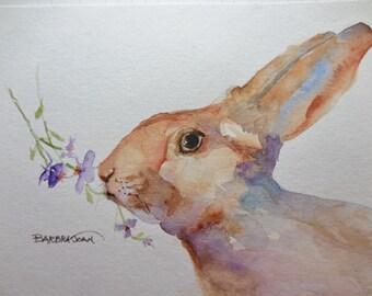 Watercolor Bunny, Watercolor Rabbit, Original painting