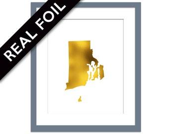 Rhode Island Art Print Gold Foil Print Rhode Island Map Travel Poster