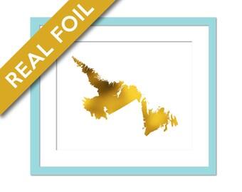 Newfoundland Print - Gold Foil Print - Newfoundland Art Print - Travel Poster - Canada Art Print - Newfoundland Map - Newfoundland Poster