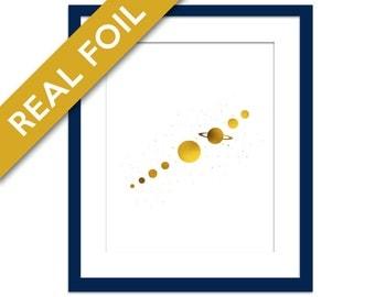 Solar System Art Print - Gold Foil Print - Planets Art Print - Planets Poster - Astronomy Art Print - Nature Poster - Space Art Print