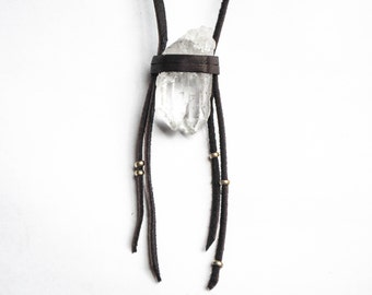 Quartz crystal wrapped in brownleather deerskin, raw crystal leather necklace, fringed leather necklace | Gift wrapped