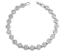 Silver CZ Pave Heart Bracelet