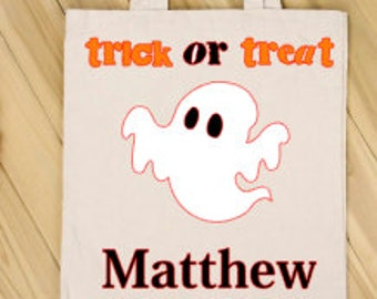 Personalized Trick or Treat Bags - Halloween Bags - Candy Sacks - Ghost