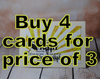 Buy 4 cards for the price of 3- SALE special offer- get one free. Funny,sweet,adult,rude personalised cards, take your pick!