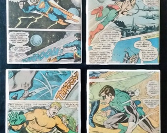 Classic DC Comics Comic Book Coaster Set, Superman, Hawkman, Aquaman and Green Lantern