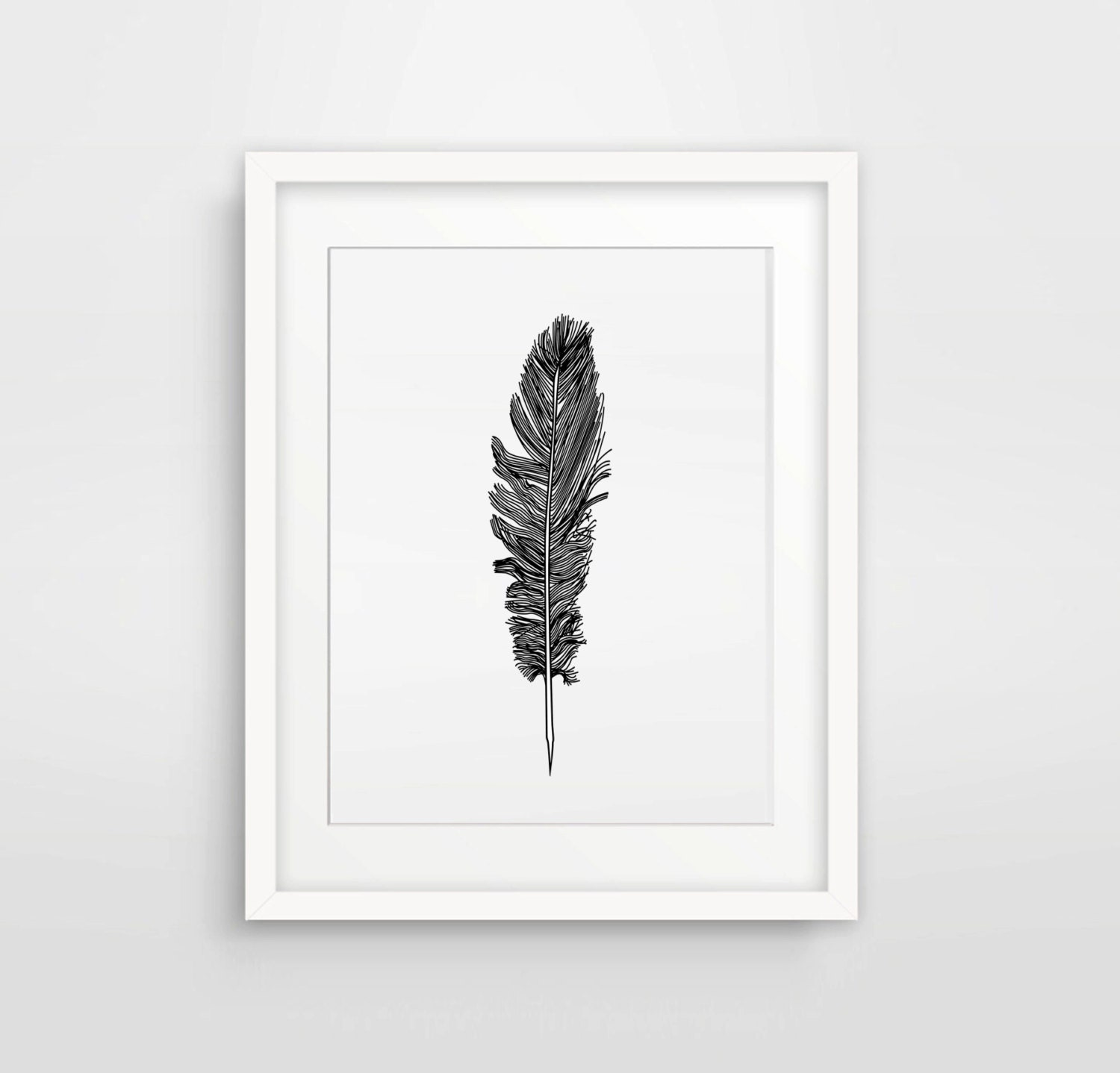 Wall Decor Silvers: Silver Wall Print Wall Decor Black Feather Feather Art