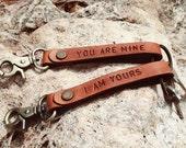 Personalized Monogram Leather Keychain , Leather keychain handmade, Key Ring,