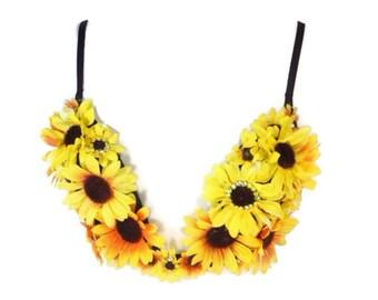 Sunflower Plunge Rave Bra