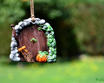 Halloween home decoration Halloween decor Witch door Witch house door Witch broom Polymer clay decor Witch decoration Polymer clay creations