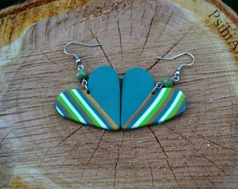 Green heart earrings Grean stripes earrings Heart shaped earrings Polymer clay earrings Polymer clay green earrings Polymer clay heart shape