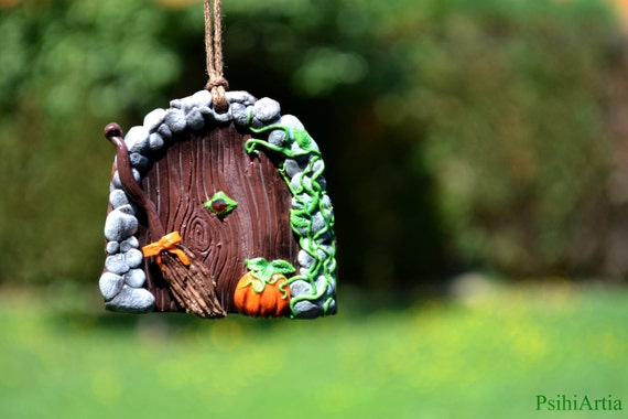 Halloween home decoration Halloween decor Witch door Witch house door Witch broom Polymer clay decor Witch decoration Polymer clay creations