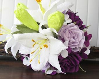 Wedding bouquet, Lilium bouquet, White purple bouquet, Bridal bouquet, Paper Flower