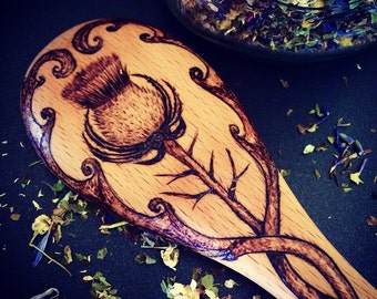 Scottish Thistle wooden spoon pyrography