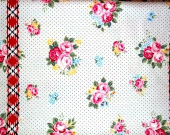 SALE Flower Sugar Maison Cotton Oxford Fabric 2015 Lecien 40566L-10  Border White Roses Polka Dots