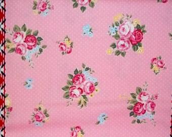 SALE Flower Sugar Maison Cotton Oxford Fabric 2015 Lecien 40566L-20  Border Pink Roses Polka Dots