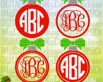 Christmas Ornament with Bow Monogram Base, Christmas Ornament SVG, Digital Clipart and Cut File Instant Download SVG DXF eps Jpeg Png