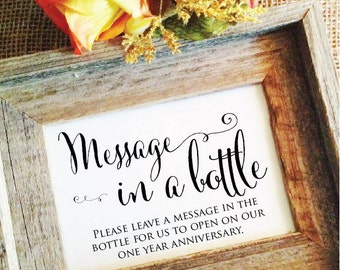 Message in a bottle sign anniversary wedding sign message in a bottle guest book message in a bottle wedding sign (Frame NOT included)