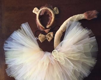 Lion Tutu Halloween Costume with Headband Ears, Tail, Neck Bow Girls