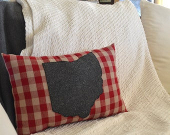 Red and Tan Checkered State of Ohio Pillow