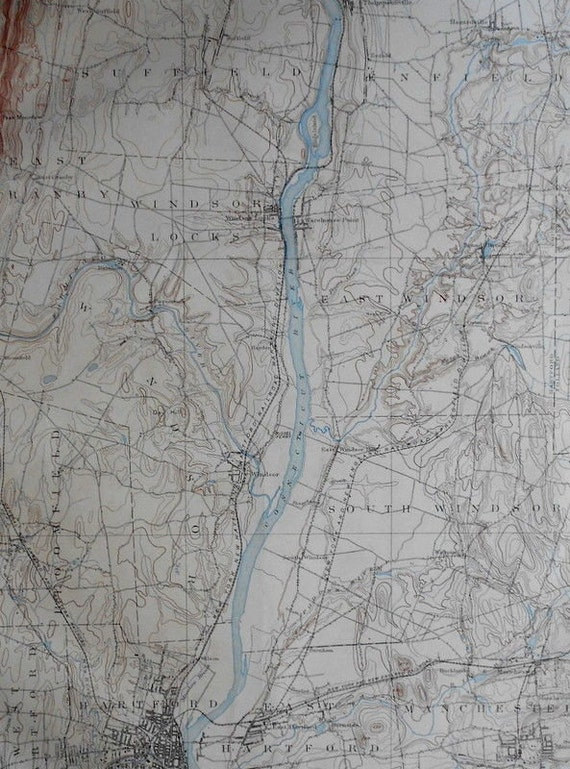 1893 Large Antique Map Hartford Bloomfield Manchester