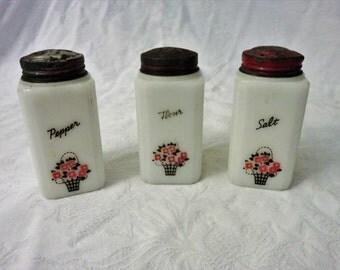 Milk White Tipp Salt, Pepper and Flour Shakers, Collectable Milk White Shakers, Milk Glass Shaker Set, Set of (3) shakers, Flour Shaker
