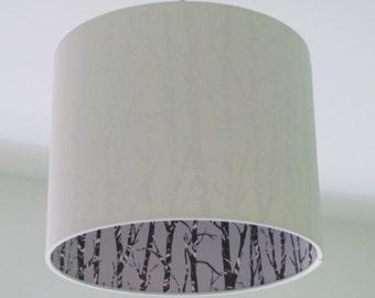 NEW Handmade Woods Silhouette Trees Crisp White Drum Lampshade Lightshade