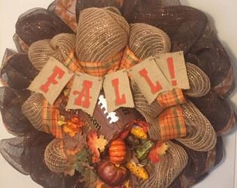 Fall Turkey Bowl Wreath