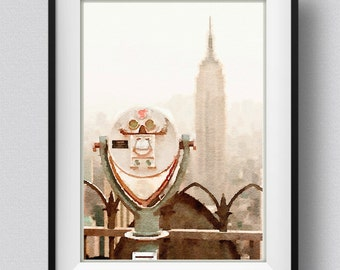 New York Print,painting,watercolor,skyline,Pic no 104