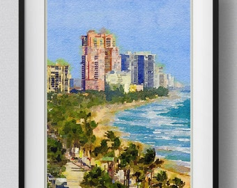 Fort Lauderdale print,painting,watercolor,home decor,wall art,Pic no 105