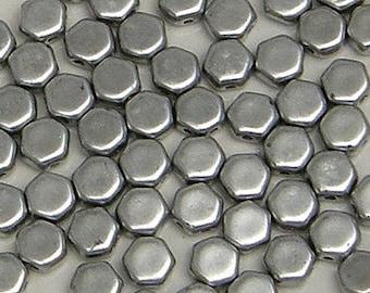Honeycomb Bead, Matte Silver, Bronze Aluminum, 2 Hole Glass Beads, (HC-00030-01700), 6mm, 30 count