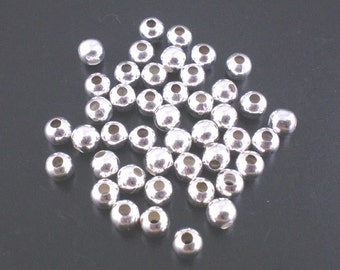 Silver Plated Round, 4mm, Smooth Spacer Bead, 100 count, (SB-4-S-1)
