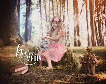 Magical Child Fairytale Enchanted Nature Forest in Woods Digital Photo Backdrop Background for Photographers with Trees - Instant Download